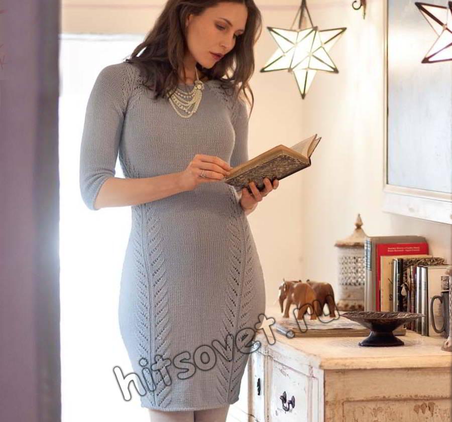 Вязаное облегающее платье для девушки, фото.
