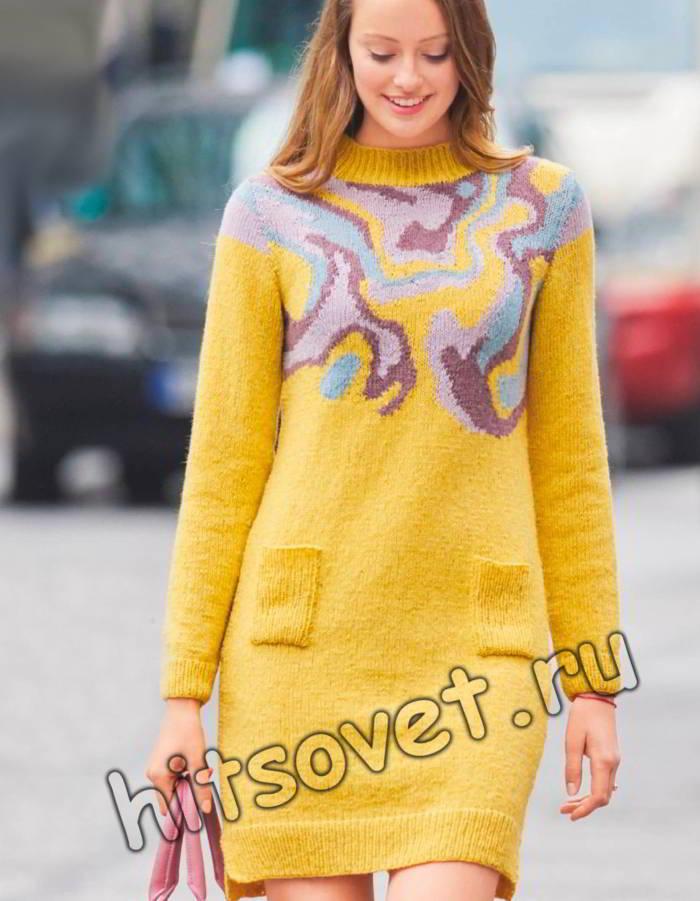 Вязаное платье с длинным рукавом, фото.