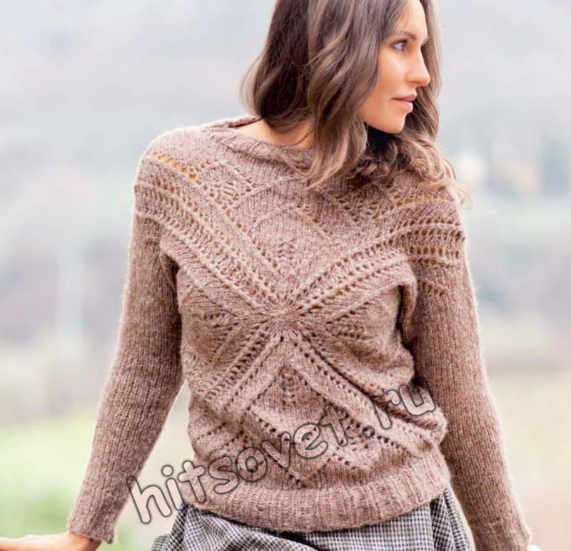 Вязаный пуловер с крестообразным мотивом, фото.