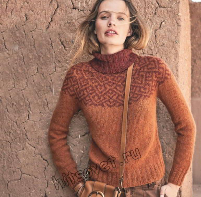 Вязаный свитер с круглой жаккардовой кокеткой, фото.