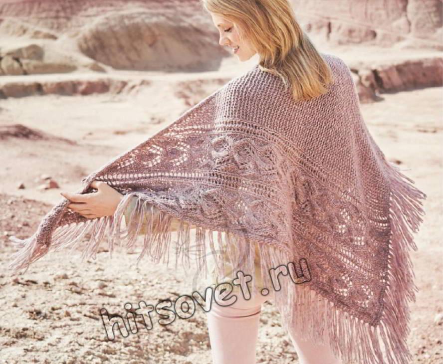 Асимметричная шаль с косами и бахромой, фото.
