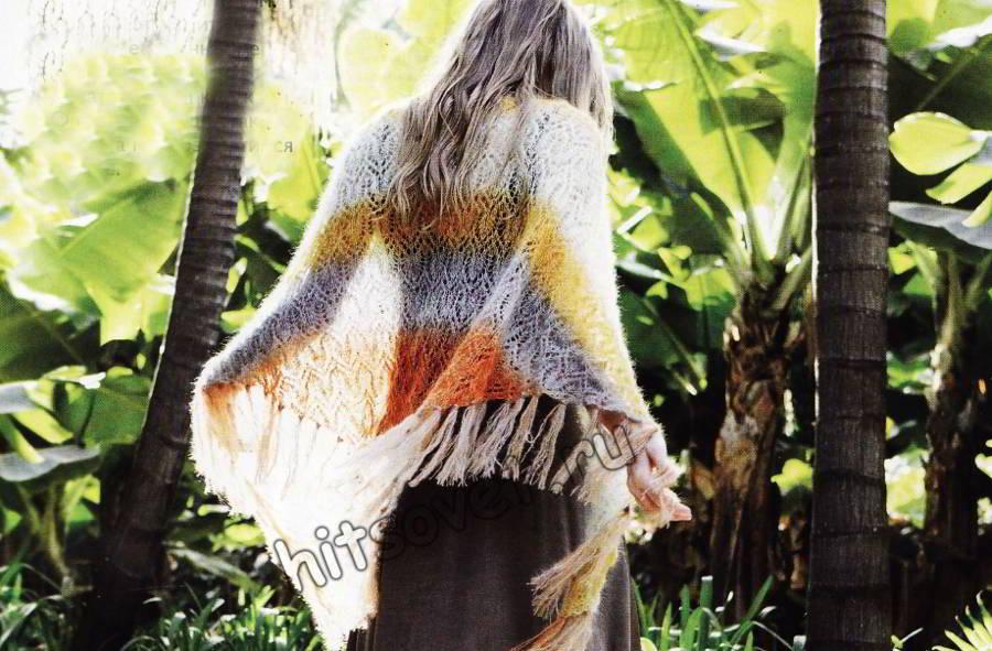 Ажурная шаль из мохера с шелком