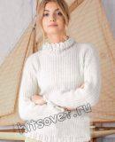 Белый свитер с ажурными планками