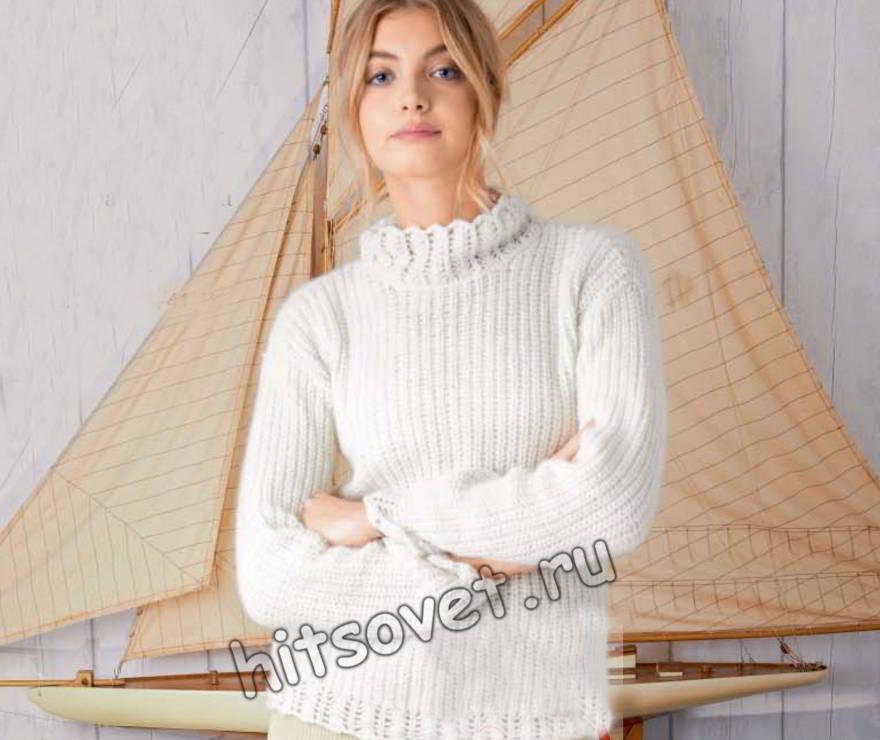 Белый свитер с ажурными планками, фото.