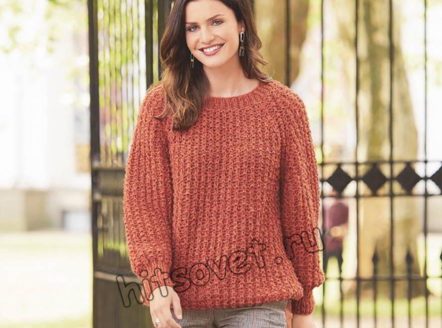 Классический пуловер патентным узором, фото.