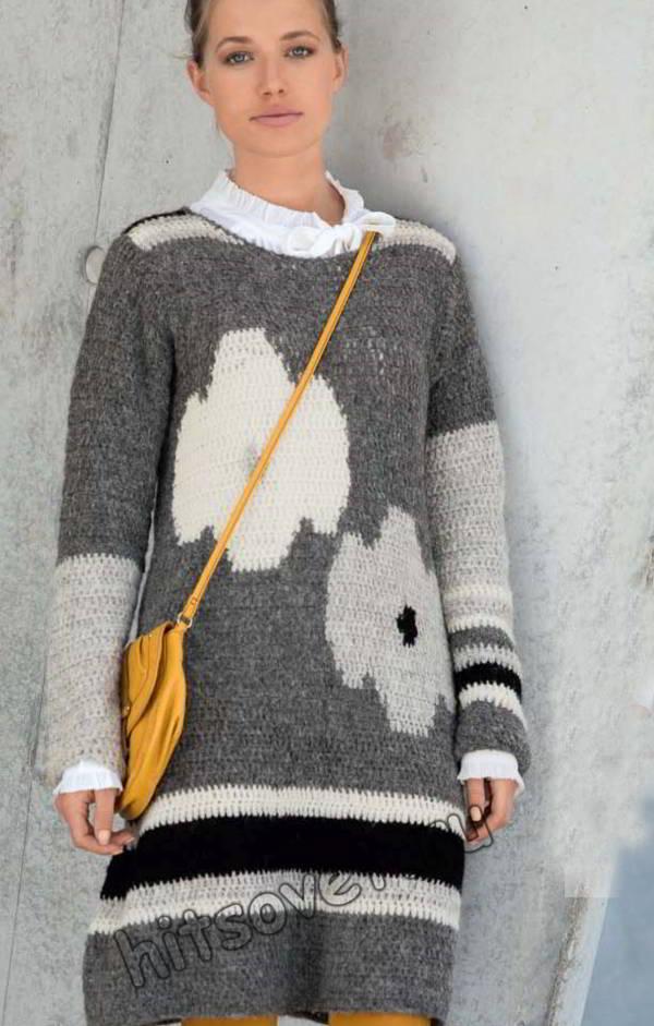 Модное вязаное платье туника, фото.