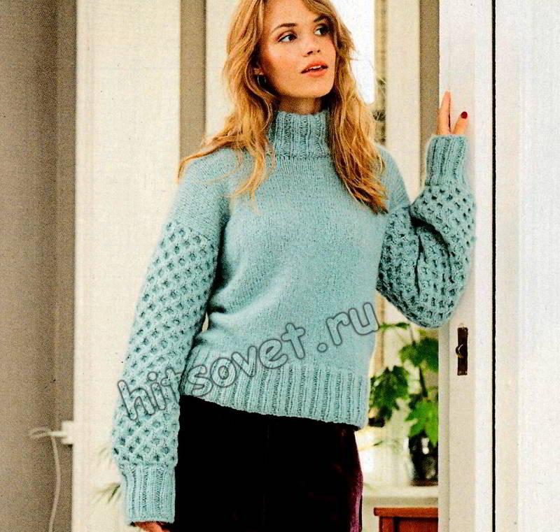 Модный голубой свитер, фото 1.
