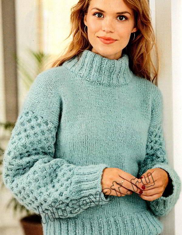 Модный голубой свитер, фото 2.