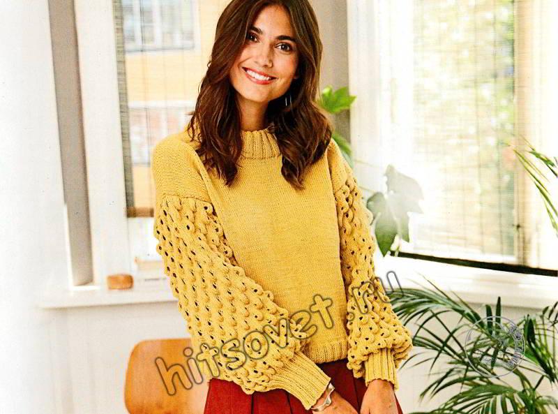 Модный свитер с рукавами фонариками, фото.