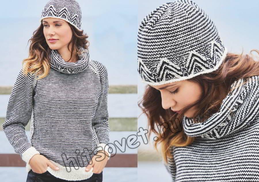 Модный женский пуловер снуд и шапочка, фото.