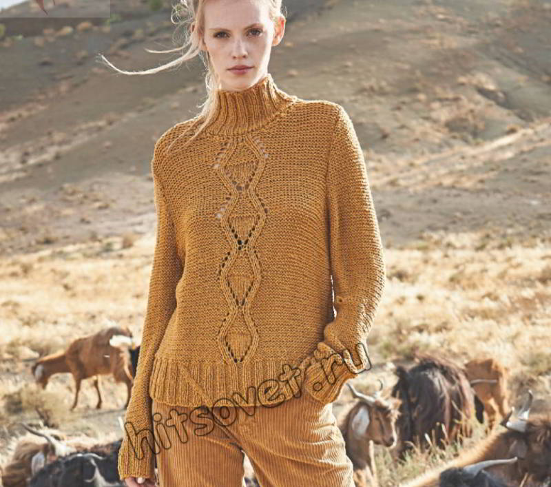 Модный женский свитер с косами и ромбами, фото.