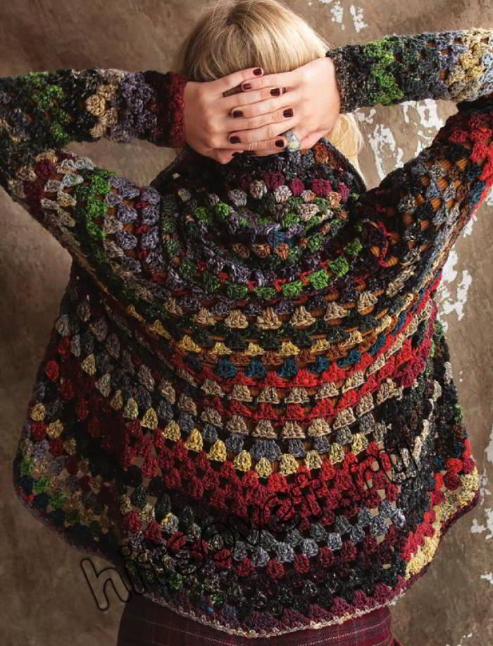 Модный женский жакет крючком, фото 2.