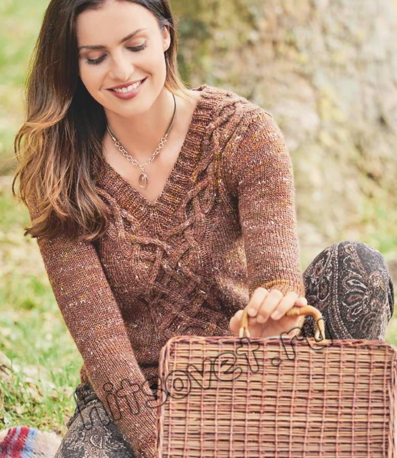 Стильный твидовый пуловер с косами, фото.