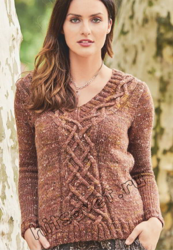 Стильный твидовый пуловер с косами, фото 2.