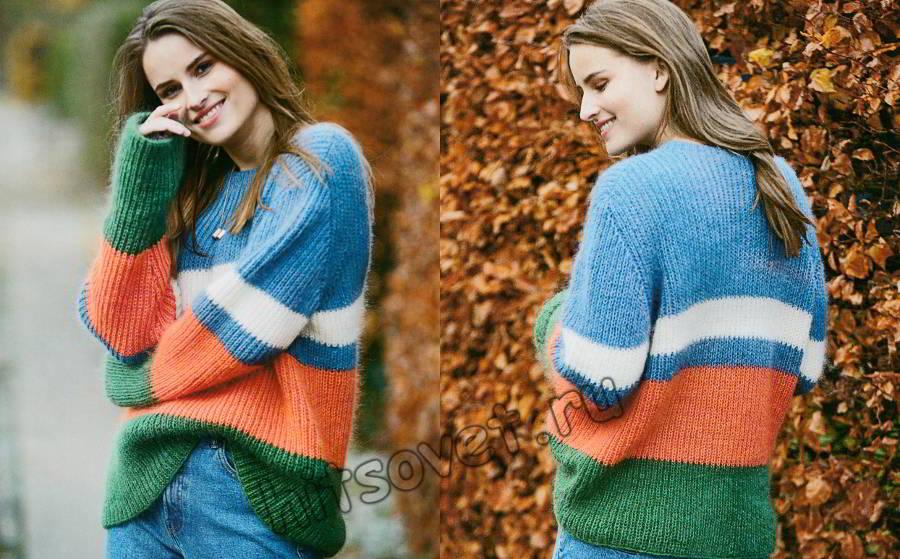 Свободный цветной свитер резинкой, фото.