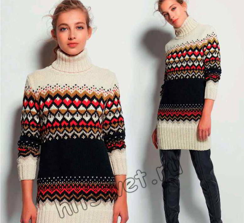 Удлиненный жаккардовый свитер для женщин, фото.