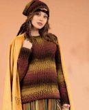 Вязание крючком женского пуловера и шапки из секционной пряжи