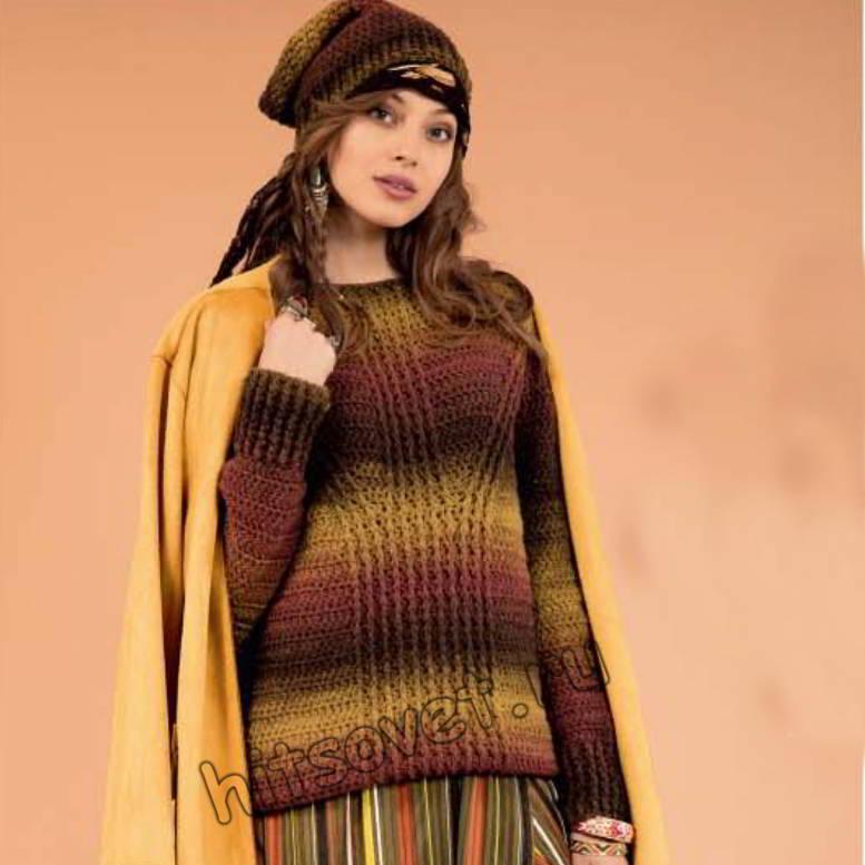 Вязание крючком женского пуловера и шапки из секционной пряжи, фото.