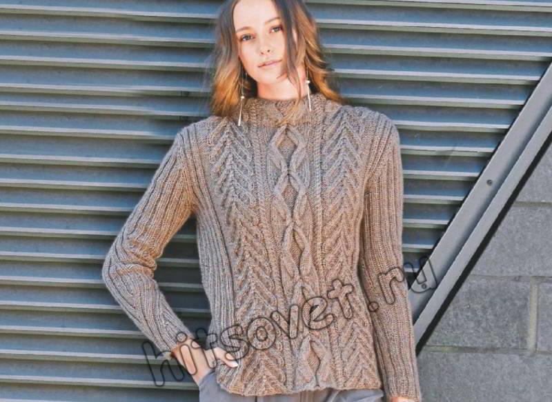 Вязание женского свитера с косами и воротником стойка
