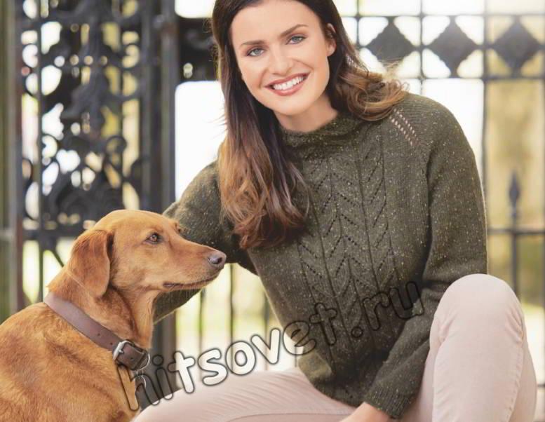 Вязаный свитер с нежными листьями, фото.
