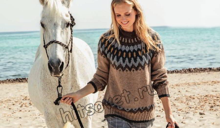 Женский свитер с круглой жаккардовой кокеткой, фото 1.