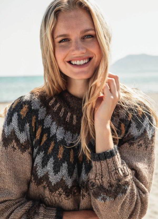 Женский свитер с круглой жаккардовой кокеткой, фото 2.