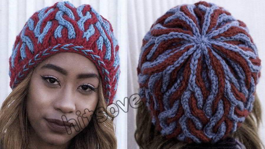 Двухцветная шапка с косами, фото 2.