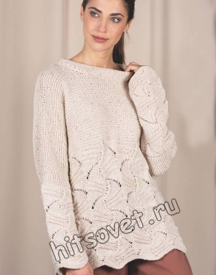 Модная туника с красивым ажурным узором, фото.