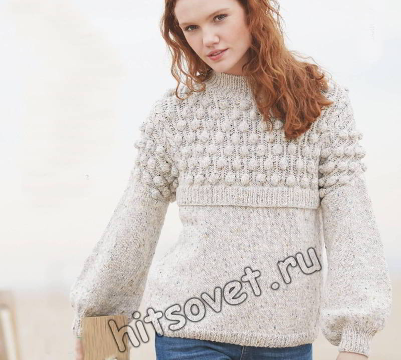 Модный меланжевый пуловер с шишечками, фото.
