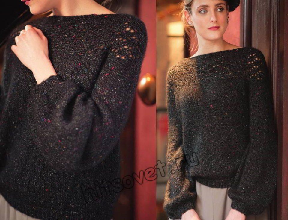 Модный пуловер с ажурной кокеткой крючком, фото.