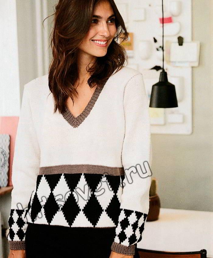 Модный пуловер узором Арлекин, фото 1.