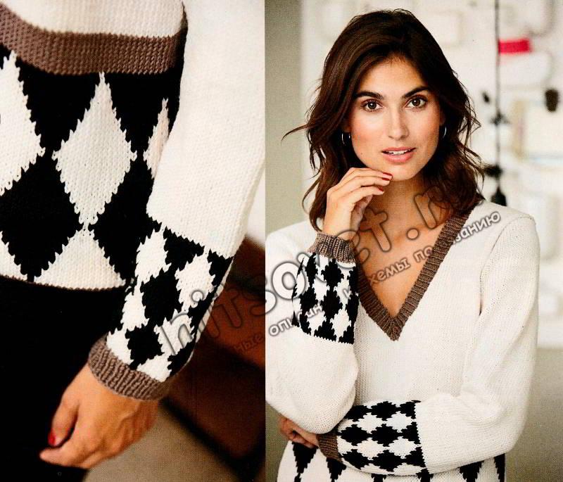 Модный пуловер узором Арлекин, фото 2.