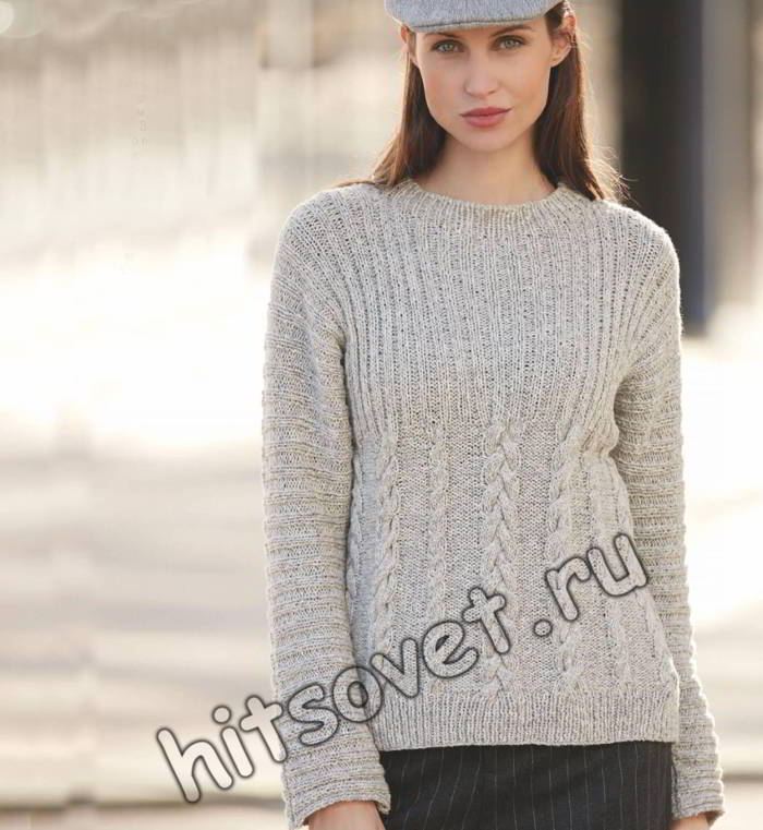 Модный серый пуловер с косами, фото.