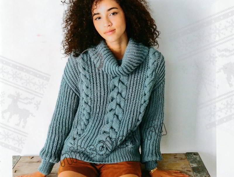 Модный свитер с косами и воротником хомут, фото.
