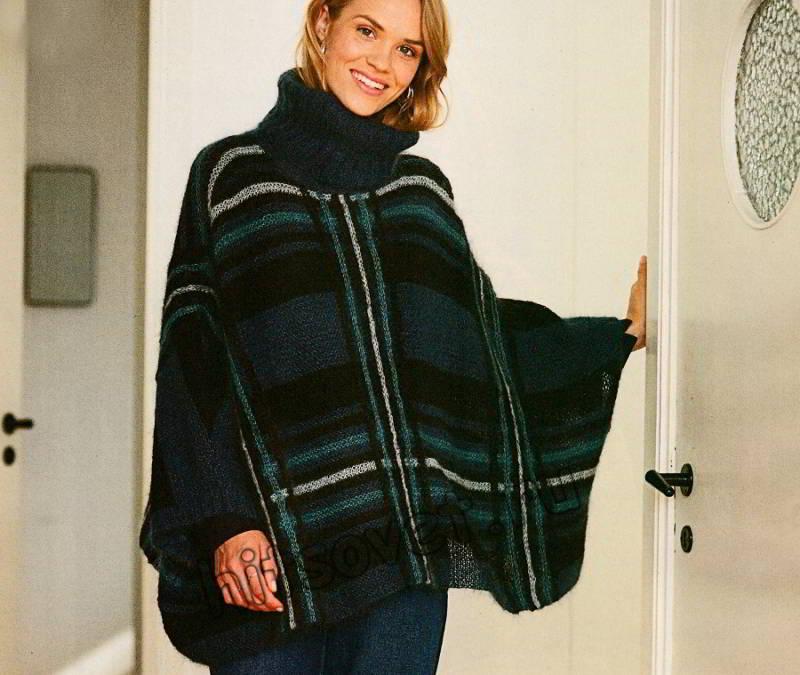 Пончо-свитер в клетку, фото 1.