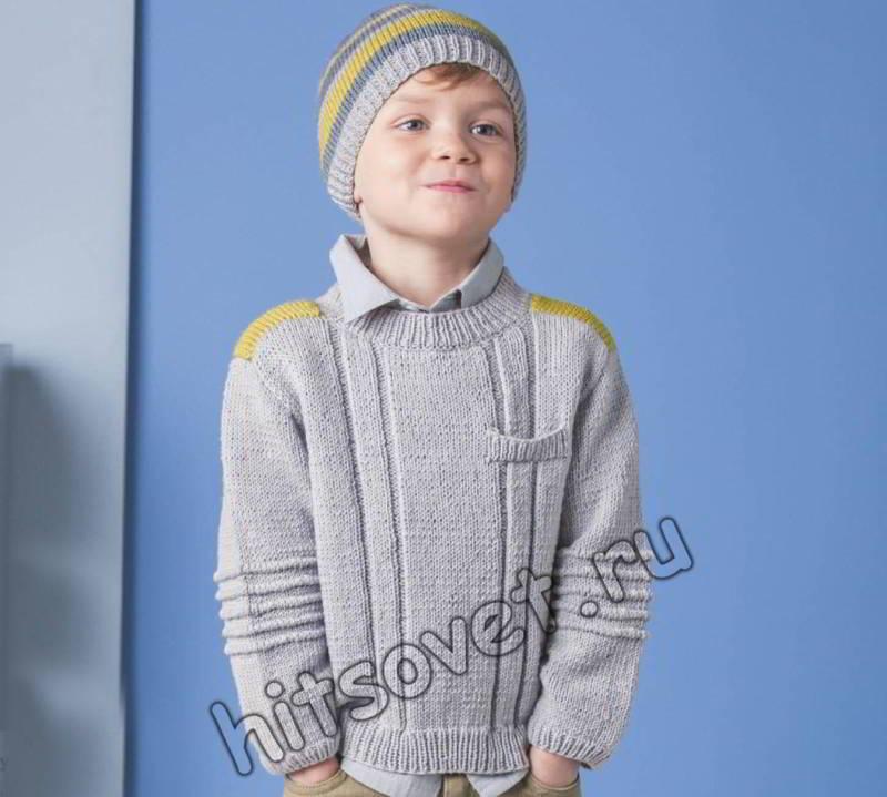Пуловер с кармашком и шапочка для мальчика, фото.