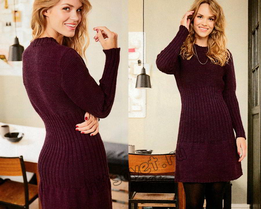 Стильное модное вязаное платье