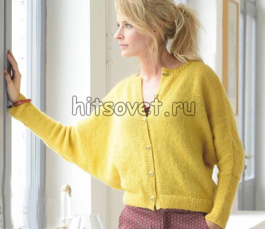 Жакет лицевой гладью с рукавами летучая мышь