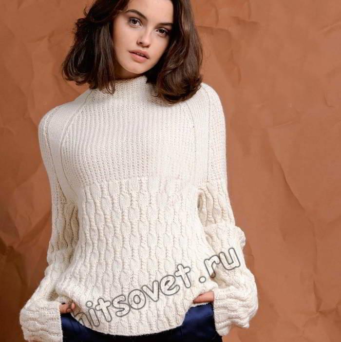 Белый свитер реглан, фото.