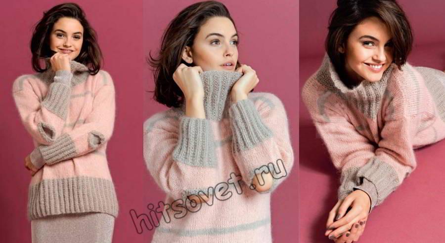 Двухцветный пуловер с вырезами на локтях, фото.