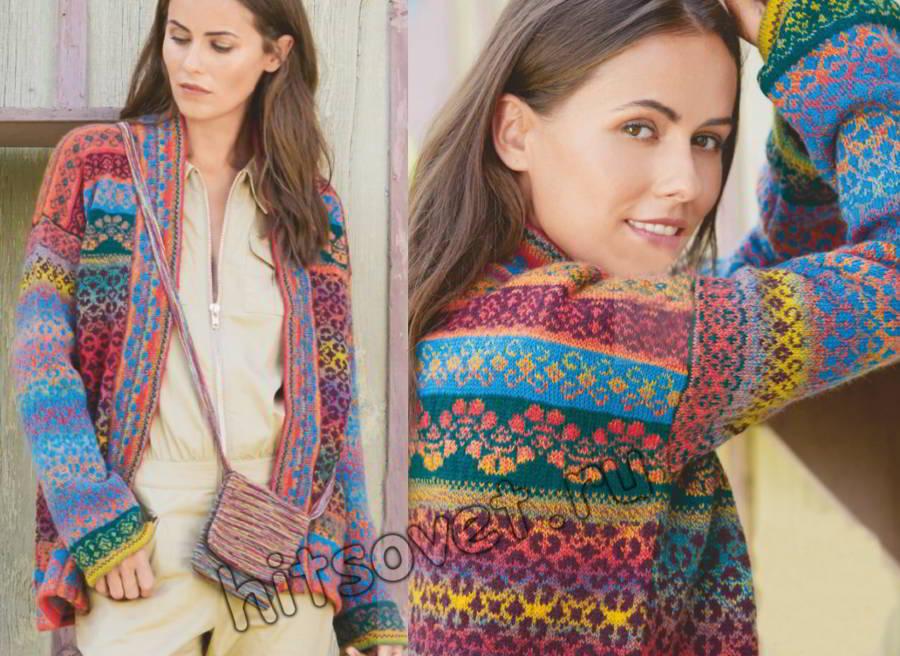 Модный жакет с широкими планками из разноцветных ниток, фото.