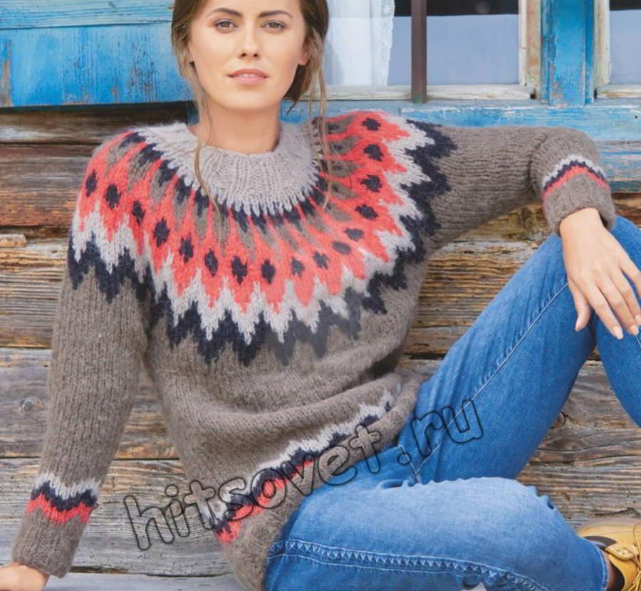 Модный жаккардовый пуловер с зигзагообразным узором