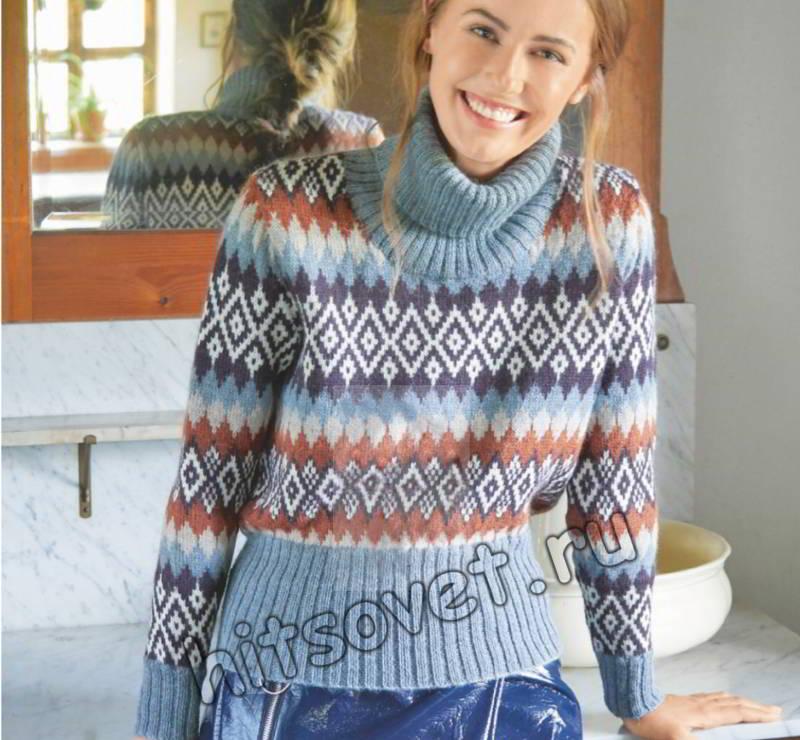 Модный жаккардовый свитер для женщин, фото.
