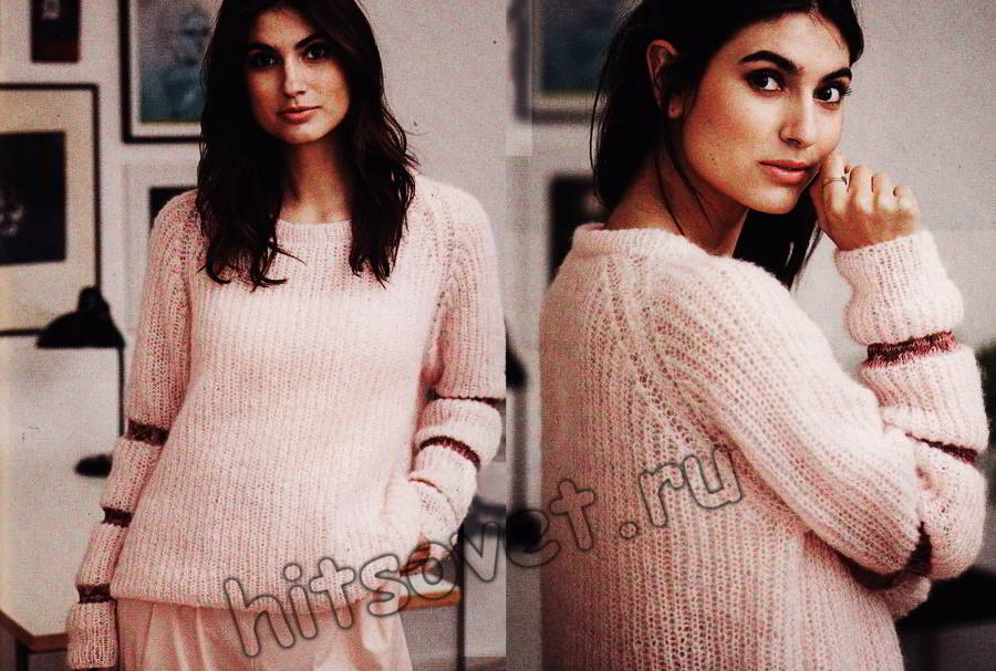 Пуловер реглан патентным узором, фото.