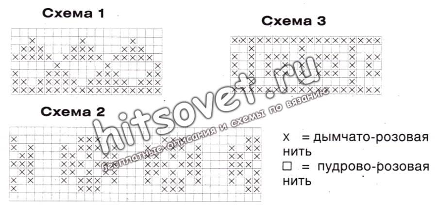 Пуловер реглан патентным узором, схемы.