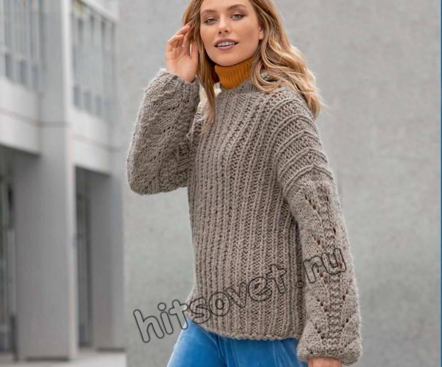 Пуловер с капюшоном и косами на рукавах, фото.