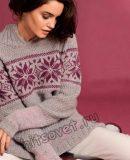 Удлиненный пуловер с жаккардовым бордюром