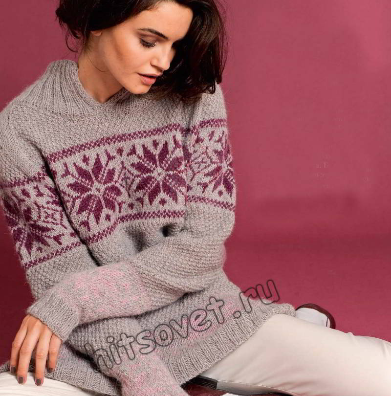 Удлиненный пуловер с жаккардовым бордюром, фото.