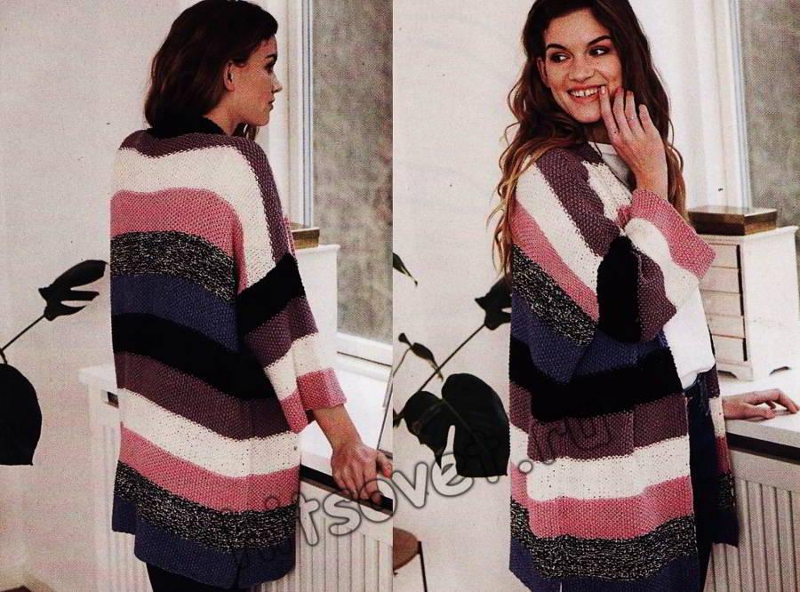 Жакет кимоно в разноцветную полоску