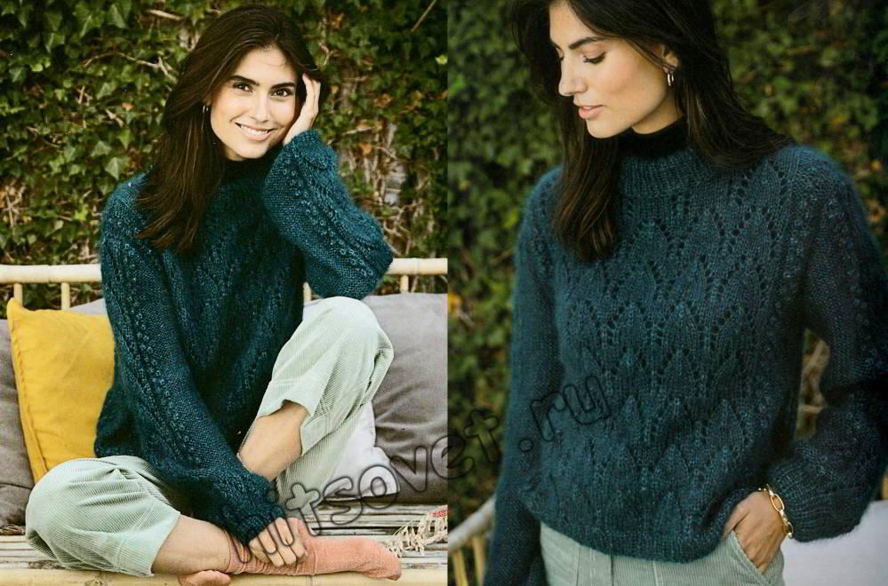Мохеровый ажурный пуловер с шишечками